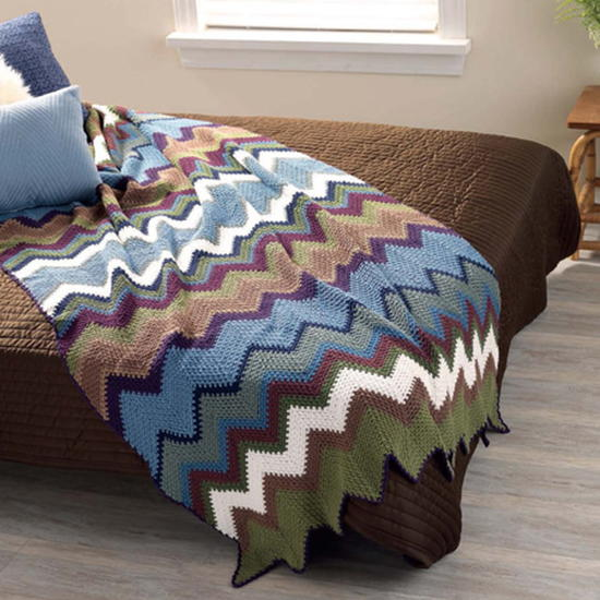 Crocheted Chevron Bedspread FaveCrafts.com