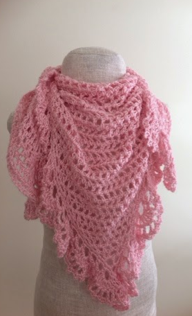 How To Crochet Pink Scarf Free Pattern Tutorial For Beginners : Pink Lace Crochet Triangle Shawl AllFreeCrochet.com