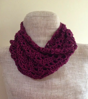Crochet Pattern For Lacy Infinity Scarf : Lacy Fuchsia Crochet Infinity Scarf AllFreeCrochet.com