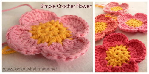 Four Petal Crochet Flower Pattern