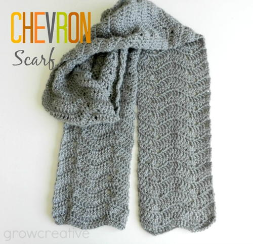 Gray Chevron Easy Crochet Scarf