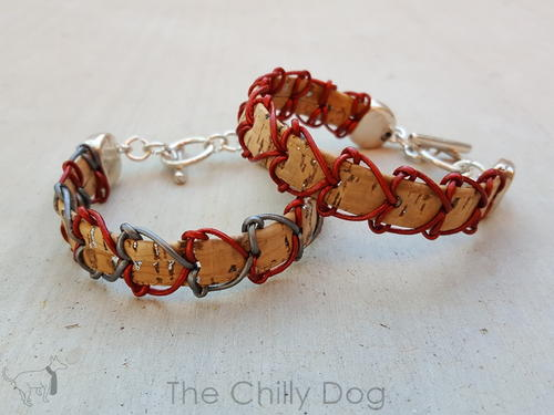 Cork and Leather Heart Bracelet