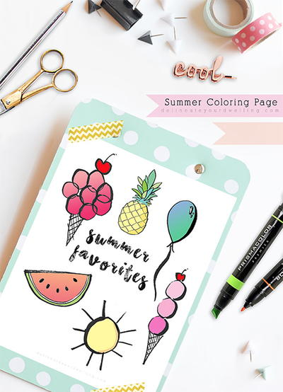 Summer Favorites Coloring Page