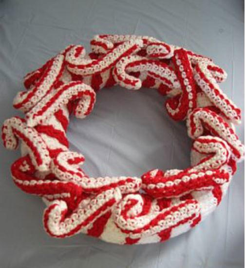 Crochet Candy Cane Wreath