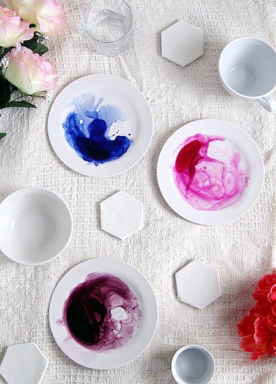 DIY Watercolor Painted Plate