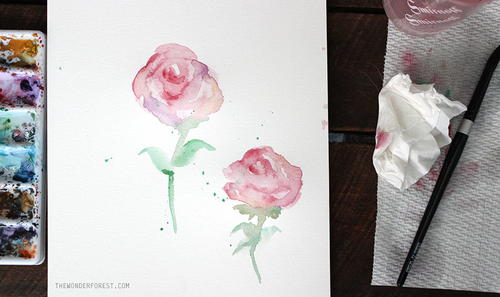 Simple Watercolor Roses