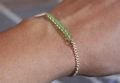 Delicate Chain and Bead Bracelet