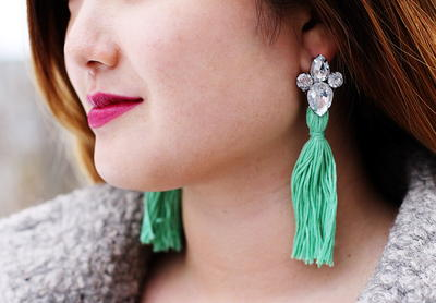 Rhinestone Studded Tassel Earrings
