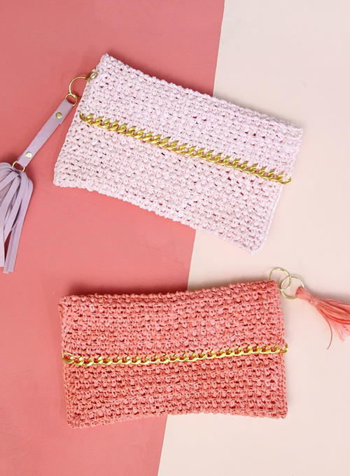Chain Edge Raffia Crochet Clutch