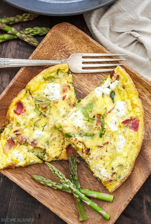Asparagus Bacon and Herbed Goat Cheese Frittata