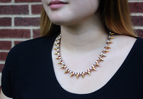 Crystal Studded Box Chain Necklace