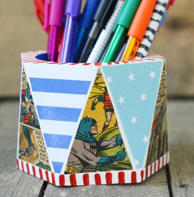 Vintage Comic Book DIY Pencil Holder