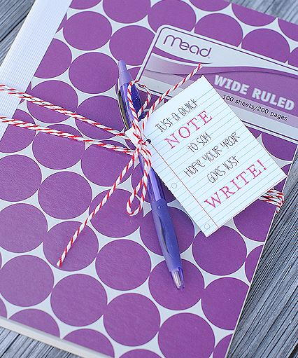 Notebook and Printable Tag Back to School Gift