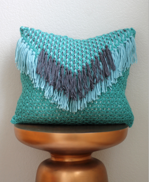 Tassel Waterfall Crochet Pillow