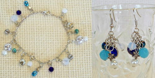 Sapphire Firework DIY Bracelet and Earrings
