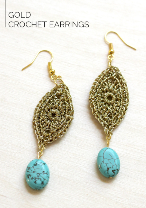 Golden Dazzle Crochet Earrings