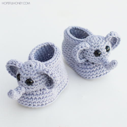 Ellie The Elephant Crochet Baby Booties