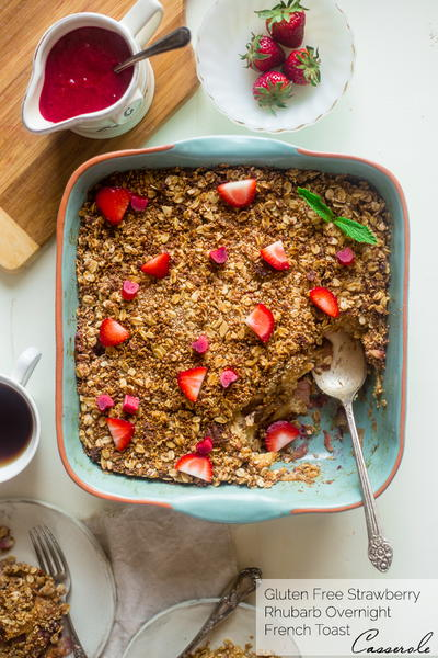 Strawberry and Rhubarb French Toast Bake