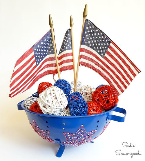 Star Spangled Colander Centerpiece