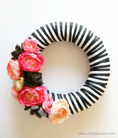 Stripe and Floral Wreath