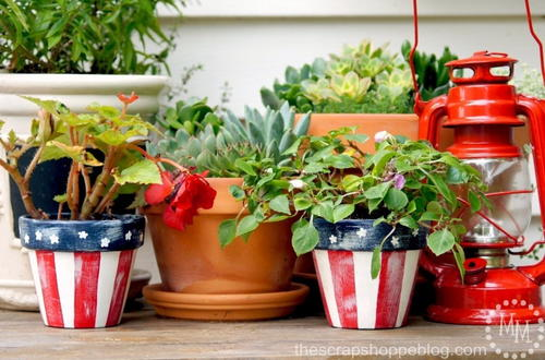DIY Star Spangled Flower Pots
