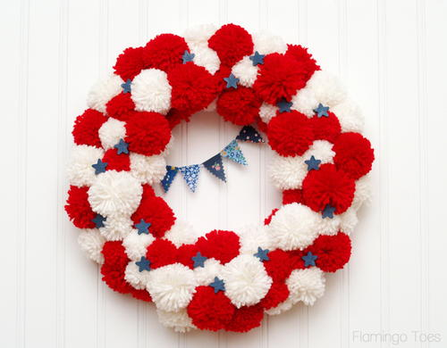 Patriotic Pom Pom Wreath