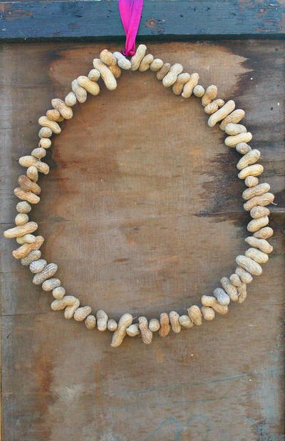 Peanut Bird Feeder Wreath Craft