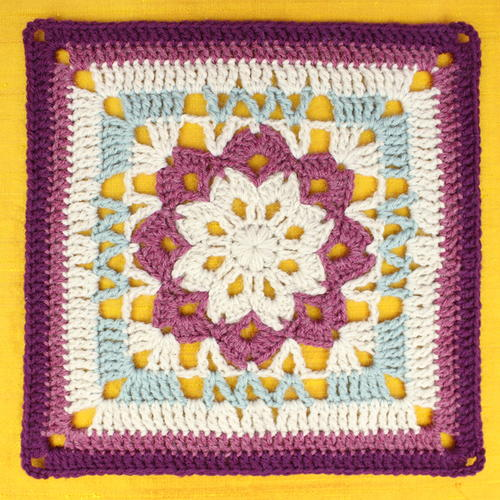 Floral Kaleidoscope Crochet Square