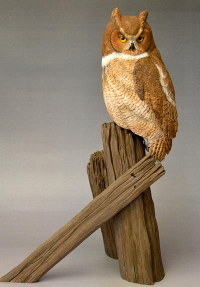 The great horned owl in miniature carving wildfowl carving.com