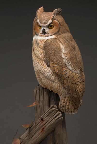 The great horned owl in miniature painting wildfowl