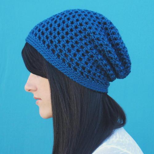 4820ec2ca50 Slouchy Ocean Blue Hat   AllFreeCrochet.com
