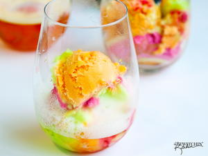 Colorful Champagne Floats