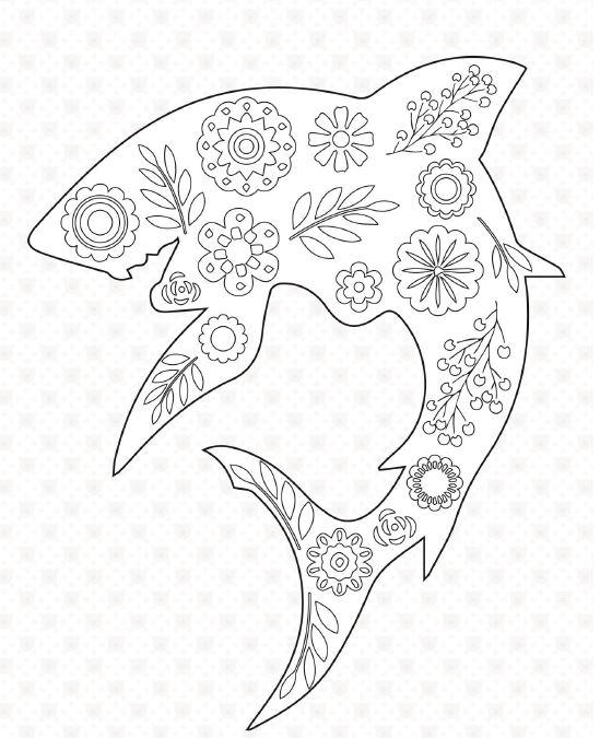 Floral Shark Coloring Page FaveCrafts
