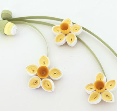 Quilled Paper Daffodils and Buds