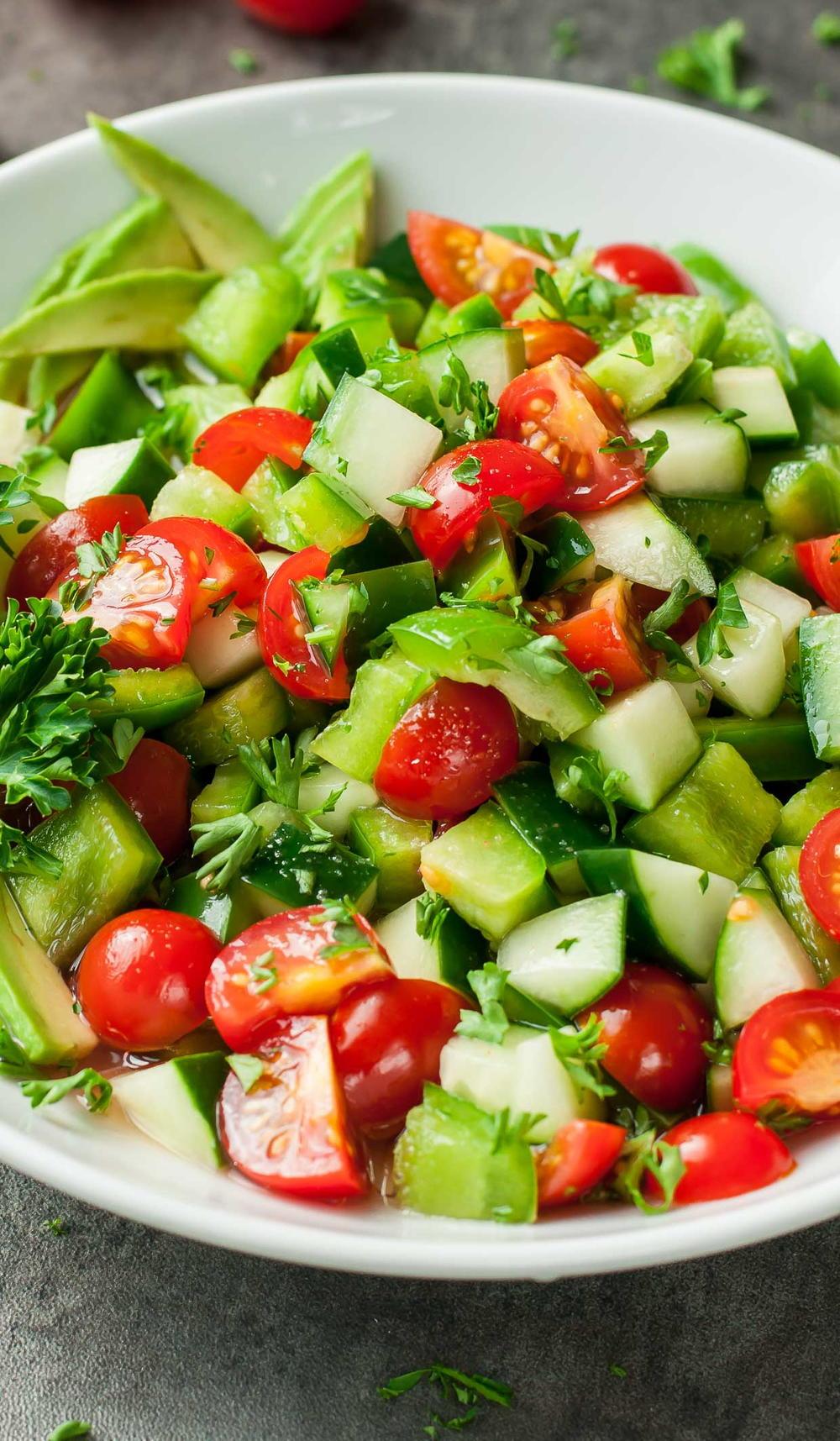 Tomato, Cucumber, and Avocado Salad  FaveHealthyRecipes.com