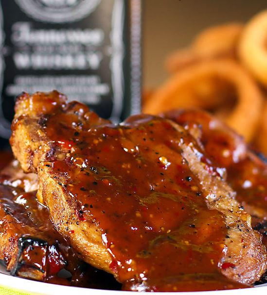 Grilled Pork Chops With Whiskey BBQ Sauce