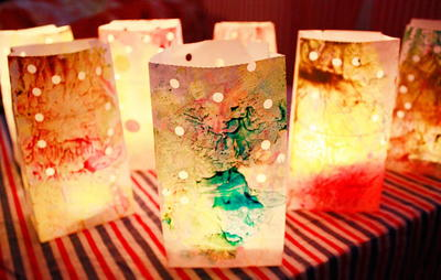 Melted Crayon Luminaries
