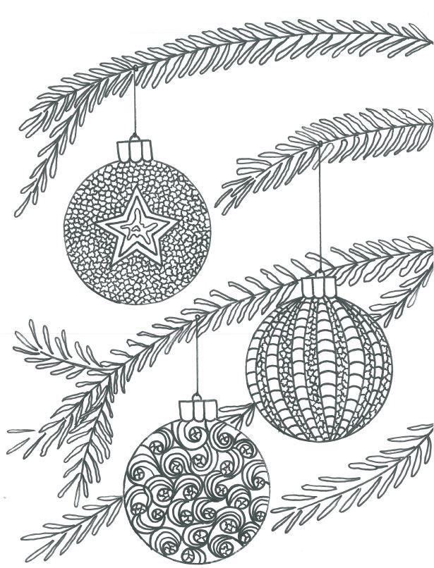 Christmas Baubles Adult Coloring Page