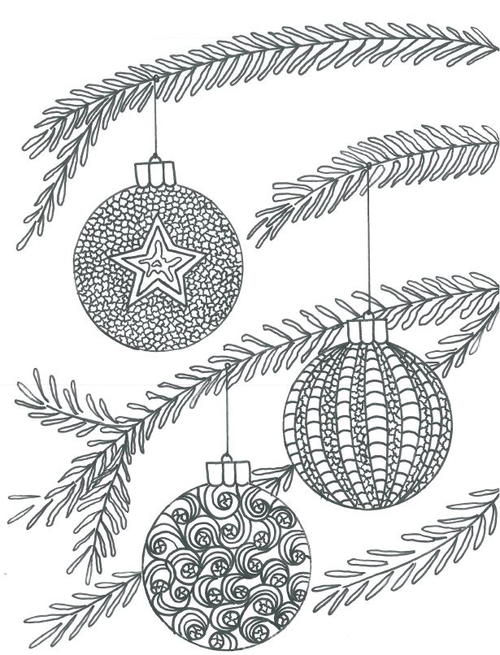 Christmas Baubles Adult Coloring Page | AllFreeChristmasCrafts.com