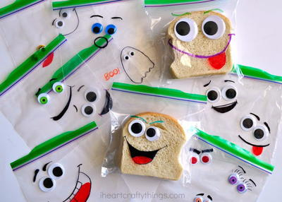 Back to School Silly Face Sandwich Bags