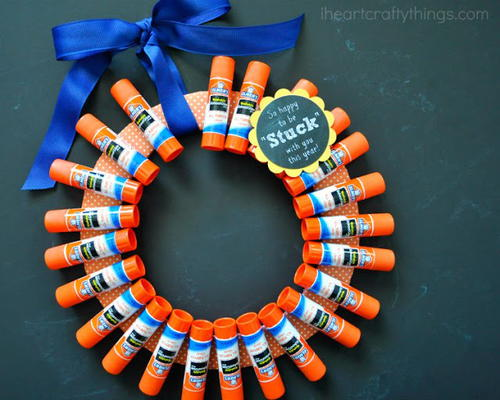 Back to School Glue Stick Wreath