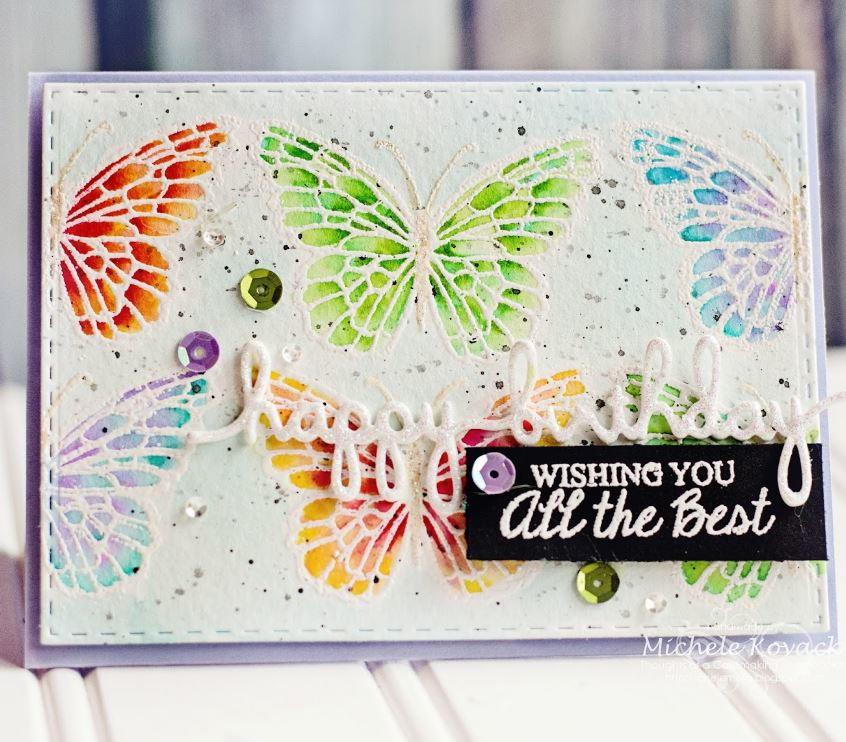 Rainbow Butterflies Handmade Birthday Card