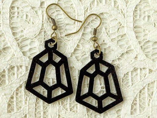 Geometric Black Diamond Drop Earrings