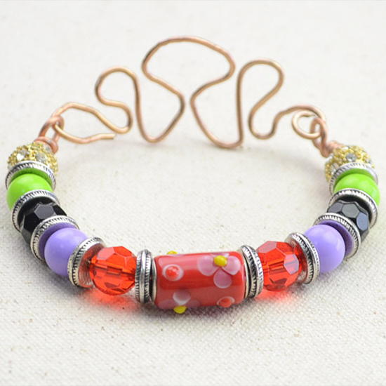 Fashion Bead and Wire Bracelet