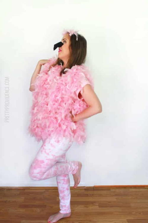 Flashy DIY Flamingo Costume