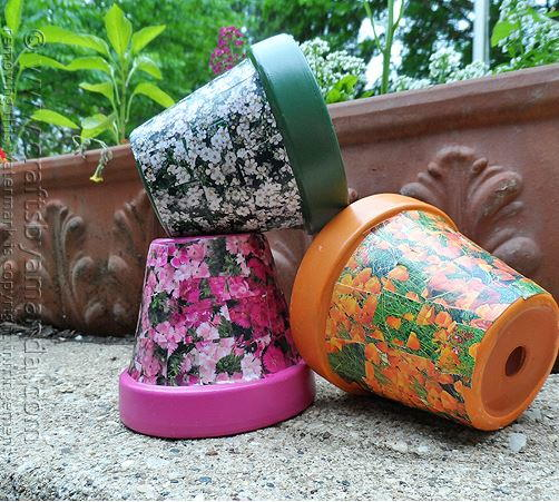 Seed Packet Decoupage Pot Decoration