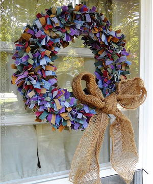 Scrappy Colored Denim DIY Wreath