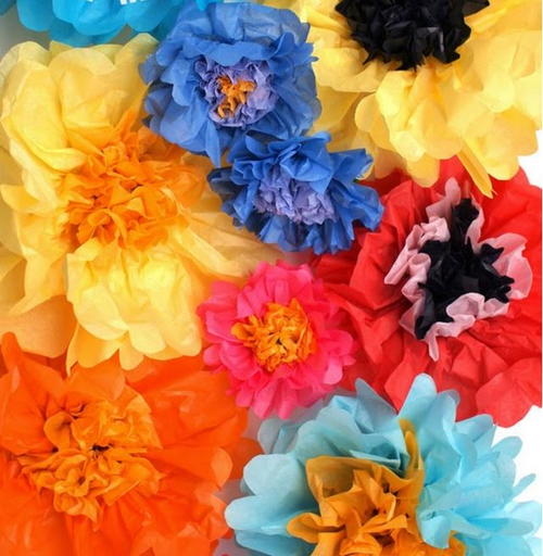 Multi-Colored Tissue Paper Flowers