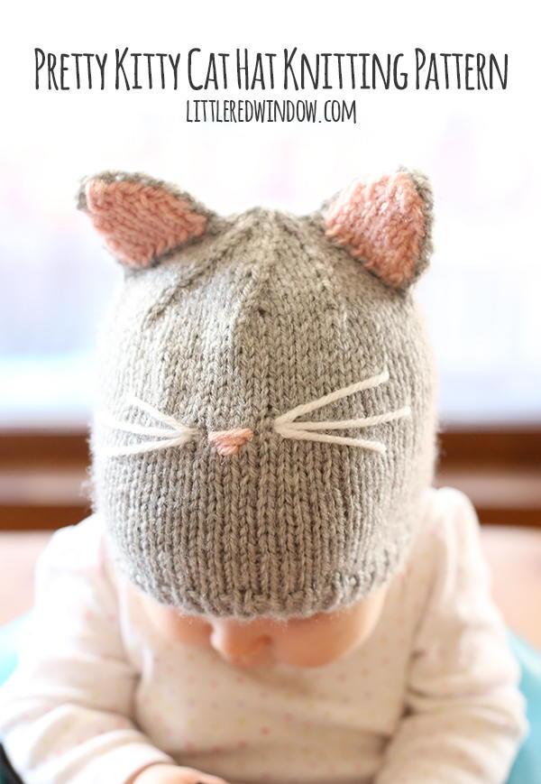 Hello Kitty Baby Hat Knitting Pattern : Pretty Kitty Baby Hat AllFreeKnitting.com