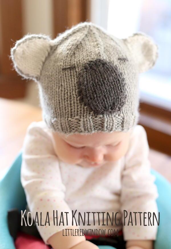 Knitting Pattern For Koala Bear Mittens : Cuddly Koala Baby Hat AllFreeKnitting.com
